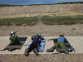 4-H shooters on the firing line at the Iron County Shooting Range.
